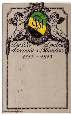 Studentika Couleurkarte 1906 KSTV Saxonia München KV Studentica | eBay