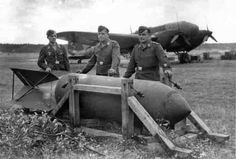 Maintenance personnel of the aerodrome has prepared SC 1800 'Satan' bomb for hanging to a German Heinkel two-engined medium bomber. Satan, Military Units, Military History, Ww2 Pictures, Battle Of Britain, Aircraft Design, Ww2 Aircraft, Army & Navy, Luftwaffe
