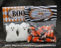 Halloween party favor treat bags topper printable labels