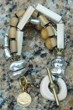 Multi-Strand Bone, Pearl and Silver Winter White Beaded Bracelet | XO Gallery