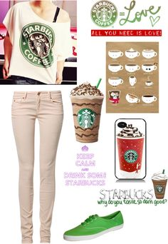 """Starbucks Outfit :)"" by my-name-is-lily ❤ liked on Polyvore"