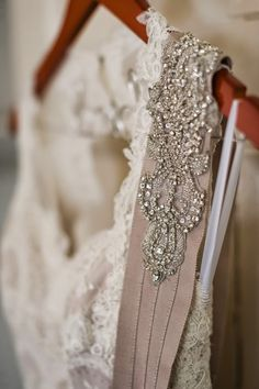 Lace Marisa wedding gown and crystal sash - Real Bride: Kate and Stephen at the Primrose Cottage on Kelly Elizabeth Style
