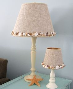 I should do this with my beach inspired Sauna room. Been looking for the perfect lamp....Seashell Lamp with Artisan Embellished Shade - maybe DIY - could try it