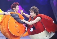Kris & Kai are 'Angry Birds' for Happy Camp HAHAHAHA!!!  And there goes any manliness they had left. XDDDDD  Welcome to Kpop boys and girls! :D