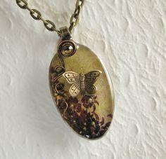 Butterfly Spoon Necklace ~ antique brass butterfly, beige brown grunge background ~ $25.00