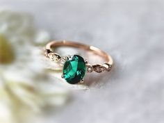 Green Emerald Engagement Ring in 14K White Gold with Diamonds and Flower Buds…