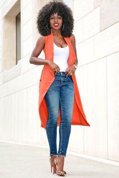 Orange draped lapel vest