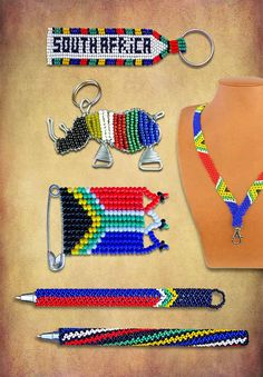 Beaded SA Flag Products handmade in South Africa. SA Flag pins, SA Flag Lanyards, SA Flag pens, SA Flag keyrings. African Necklace, African Beads, African Jewelry, South African Flag, South African Design, African Crafts, Flag Art, African Artists, Corporate Gifts