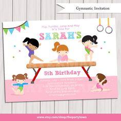 GYMNASTIC Birthday Invitation Printable Gymnastics by ThePartyTown