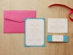 Pink & Turquoise Invitation | Paperi & Co.