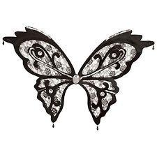 Adult Ladies Black Lace Butterfly Dark Fairy Fancy Dress Costume Wings BA385