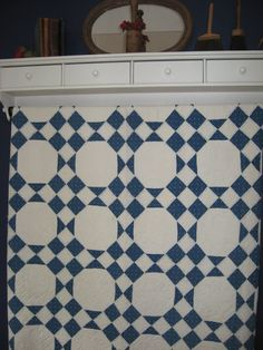 blue and white quilt... just nine patches and snowballs..
