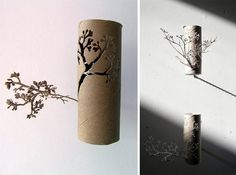 recycled art-beautifully done -toilet rolls sprouting branches-paper cutting art Toilet Paper Roll Art, Rolled Paper Art, Origami, Recycled Art, Paper Cutting, Just In Case, Creations, Paper Crafts, Post Today