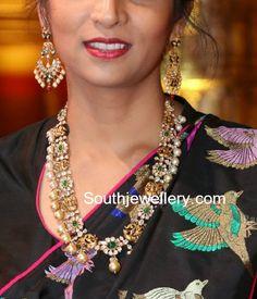 22 carat gold antique peacock nakshi polki diamond haram and earrings. Kids Gold Jewellery, Buy Gold Jewellery Online, Indian Jewellery Design, India Jewelry, Gold Jewelry, Jewelry Design, Jewelery, Diamond Jewelry, Cz Jewellery