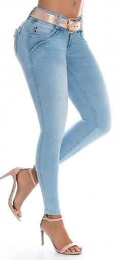 Jeans levanta cola LUJURIA 79005 Azul Sexy Jeans, Skinny Jeans, Stretch Denim Fabric, Denim Fashion, Womens Fashion, Dress Neck Designs, Jeans Style, Alter, Fashion Dresses