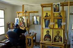 An iconographer at work. Religious Icons, Religious Art, Writing Icon, Andrei Rublev, Church Icon, Prayer Corner, Art Studio At Home, Byzantine Art, Russian Orthodox