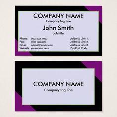 #template - #Black Purple White Plain Business Card