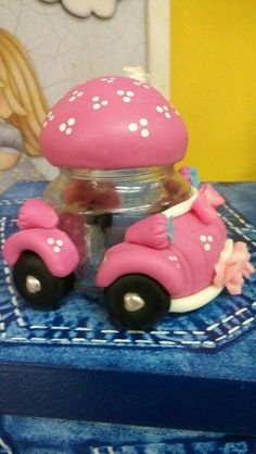 carrito Polymer Clay Figures, Polymer Clay Dolls, Clay Crafts, Diy And Crafts, Clay Fairy House, Clay Jar, Diy Bottle, Pasta Flexible, Cold Porcelain