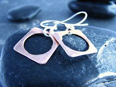 Items similar to Copper Square Earrings with Circular Cutout - Upcycled Recycled Repurposed on Etsy Square Earrings, Repurposed, Silver Rings, Copper, Etsy, Jewelry, Jewlery, Jewels, Jewerly