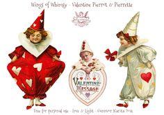 Wings of Whimsy: Vintage Valentine Pierrots & Pierrettes - DAY 2 - free for personal  use #vintage #ephemera #printable #freebie