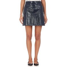 Lisa Perry Women's Cotton-Blend Vinyl Miniskirt ($495) ❤ liked on Polyvore featuring skirts, mini skirts, navy, pocket skirt, mini skirt, short mini skirts, mini circle skirt and navy blue skirt