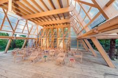 Main hall with chairs built by the summer school. Osthang Project in Germany