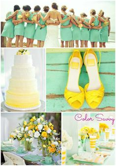 Mint and Yellow Wedding. So pretty. Something to think a bout.