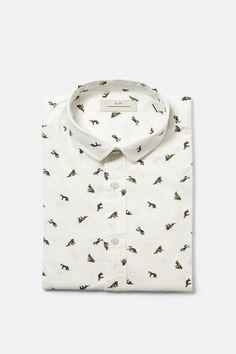 Cortefiel Slim fit print shirt Ecru