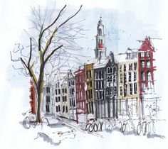 Dessin/croquis d'Amsterdam par Michelle Morelan | Guide d'Amsterdam : http://www.vanupied.com/amsterdam/ #amsterdam #sketches