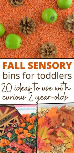 Fall Sensory Play Ideas For Toddlers! We put together over 20 easy fall sensory bin ideas for your toddlers and preschoolers. Fall Sensory Bins for 2 year-olds!! Fall Sensory Activities, Fall Activities For Toddlers, Fall Activities For Preschoolers, Activities For Kids. #toddlers #Fallactivities #toddleractivities Less