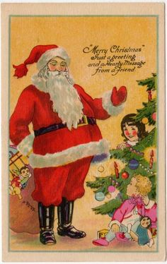 A vintage Christmas postcard of Santa Claus Putting Toys Under a Tree Where Children Are.