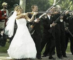 bride with gun wedding photography - my wedding will end up like this lol Crazy Wedding Photos, Funny Wedding Photos, Wedding Pictures, Engagement Pictures, Party Pictures, Funny Photos, Shotgun Wedding, Camo Wedding, Dream Wedding