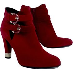 Pre-owned Stuart Weitzman Red Cut Out & Strap Ankle Boots (€155) ❤ liked on Polyvore featuring shoes, boots, ankle booties, high heel booties, strappy booties, cut-out ankle boots, strappy ankle boots and bootie boots