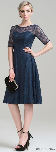 Simple all-over lace knee-length dress. Perfect for any wedding guest. #Motherofthebridedress