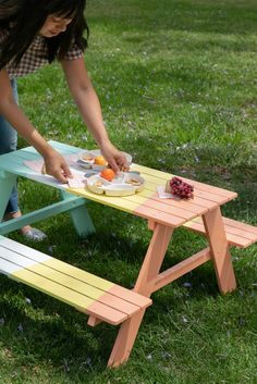 a colorful picnic table for your kids. - Oh Joy! Toddler Picnic Table, Kids Outdoor Table, Kids Outdoor Furniture, Outdoor Play, Painted Picnic Tables, Peach Water, Outdoor Shelters, Diy For Kids, Backyard