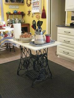 Cozy Little House —table made from an antique sewing machine table.