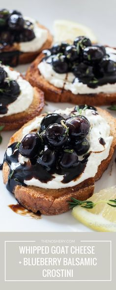 Whipped Goat Cheese and Blueberry Balsamic Crostini These crostini come together easily and are full of flavor. A perfect combination of tangy, savory and sweet. Your guest are sure to love them! - Whipped Goat Cheese and Blueberry Balsamic Crostini Whipped Goat Cheese, Blueberry Goat Cheese, Goat Cheese Pizza, Ricotta Pizza, Whipped Cream, Ice Cream, Fingerfood Party, Appetizer Recipes, Dinner Recipes