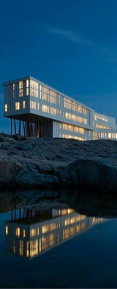 The magnificent Fogo Island Inn, perched on the furthest edge of the Earth off the north-east coast of Newfoundland Cool Places To Visit, Places To Go, Fogo Island Inn, Canadian Travel, Atlantic Canada, Newfoundland And Labrador, Island Tour, Hotels And Resorts, Luxury Hotels