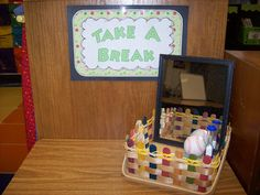 Ideas for items to place in basket for students who need to take a break.  Love the ideas.  Will start to gather.