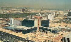 MGM Grand under construction, c. October 1992. The resort would open 12/18/93. Photo via Classiclasvegas.