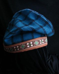 Reversible Phrygian Cap - 12th century fabric hat for history re-enactors - SCA - in teal and chocolate brown.