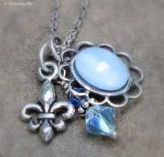 Blue Lace Agate Charm Necklace Antique Silver by DesignsbyCher, $22.00