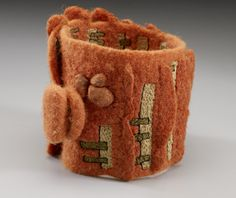 felted fiber art, wrist cuff by Lisa Klakulak
