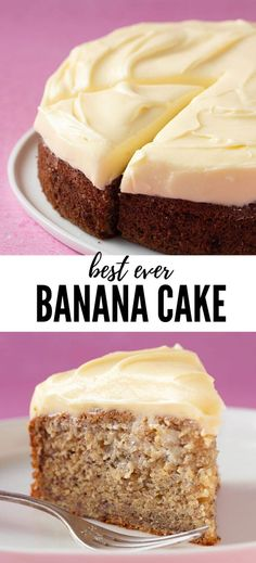 Soft and tender Banana Cake topped with a thick and buttery cream cheese frosting This Easy Banana Cake takes minutes to make and will easily serve a hungry crowd Recipe from Easy Cake Recipes, Dessert Recipes, Banana Cake Recipes, Easy Banana Cake Recipe, Baking Desserts, Cake Baking, Banana Recipes Cream Cheese, Easy Banana Desserts, Delicious Cake Recipes
