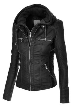 Made By Johnny Women's Removable Hoodie Motorcyle Jacket. It's the removable hoodie that gets me excited! Komplette Outfits, Winter Outfits, Mode Rock, Hoodie Jacket, Moto Jacket, Riding Jacket, Moda Casual, Moda Fashion, Vogue Fashion