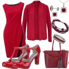 Mit diesem Outfit wirst Du zur Lady in Red. Einfach bezaubernd das knallige rot! Wir kombinieren das Patrizia Dini By Heine Etuikleid mit einem BRUNO BANANI Cardigan, TAMARIS 'Lycoris' Pumps und einem ESPRIT Shopper.