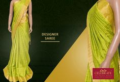 Add richer look to your style with this beautiful designer saree from Lulu Celebrate!!  Material: Jute with Silk Color: Parrot Green Work: Bavanchi border with wimple strips on body  #LuluCelebrate #DesignerWear