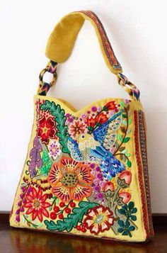Website in Chinese/Japanese. My Bags, Purses And Bags, Shabby Chic Stil, Embroidery Bags, Unique Purses, Boho Bags, Fabric Bags, Tote Bag, Mode Inspiration