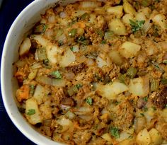 Toasted Bread Stuffing with Potatoes, Sweet Potatoes, and Fresh Herbs Sprouted Whole Grain Bread, Whole Food Recipes, Vegan Recipes, Ceramic Baking Dish, Cubed Potatoes, Winter Food, Winter Meals, Sauteed Vegetables, Thanksgiving Sides