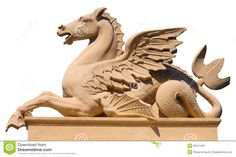 Hippocampus Mythology | statue of a winged hippocamp. Free-form select.